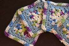 Load image into Gallery viewer, Periwinkle & Purple Granny Square Crochet Coasters Set (Set of 4)