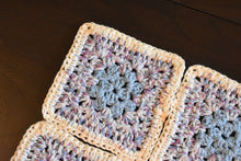 Load image into Gallery viewer, Soft Blue & Purple Granny Square Crochet Coasters Set (Set of 4)