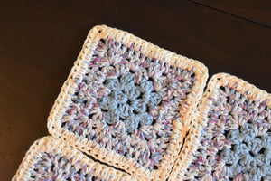 Soft Blue & Purple Granny Square Crochet Coasters Set (Set of 4)
