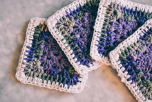 Load image into Gallery viewer, Purple & Mossy Green Gradient Granny Square Coasters Set (Set of 4)