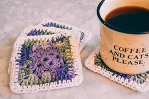 Purple & Mossy Green Gradient Granny Square Coasters Set (Set of 4)