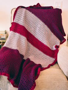 Plum, Lavender, and Cranberry Crochet Throw Blanket