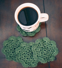 Load image into Gallery viewer, Mossy Green 4.5 Inch Floral Inspired Crochet Coasters Set (Set of 4)