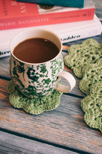 Load image into Gallery viewer, Pistachio 4.5 Inch Floral Inspired Crochet Coasters Set (Set of 4)