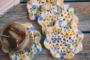 Blue & Yellow Floral Inspired Crochet Coasters Set (Set of 4)