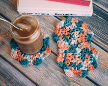 Load image into Gallery viewer, Coral & Teal Floral Inspired Crochet Coasters Set (Set of 3)