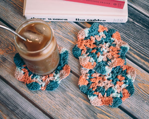 Coral & Teal Floral Inspired Crochet Coasters Set (Set of 3)