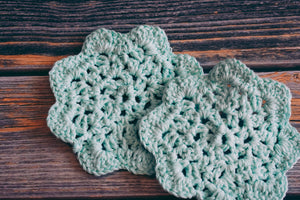 Light Turquoise 5 Inch Floral Inspired Crochet Coasters Set (Set of 2)