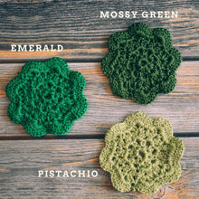Load image into Gallery viewer, Emerald Floral Inspired Crochet Coasters Set (Set of 4)