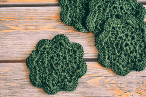 Mossy Green 4.5 Inch Floral Inspired Crochet Coasters Set (Set of 4)
