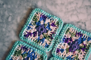 Bright Blue and Gradient Crochet Coasters (Set of 4)