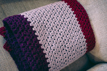 Load image into Gallery viewer, Plum, Lavender, and Cranberry Crochet Throw Blanket