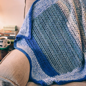 Calming Blues Homespun Crochet Throw Blanket