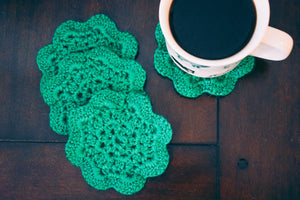 Emerald Floral Inspired Crochet Coasters Set (Set of 4)