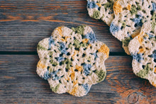 Load image into Gallery viewer, Blue & Yellow Floral Inspired Crochet Coasters Set (Set of 4)