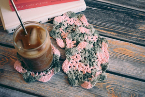 Pink & Mossy Green Floral Inspired Crochet Coasters Set (Set of 4)