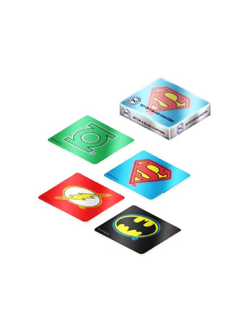 DC COMICS LOGO SET OF 4 GLASS COASTERS - Planet Superhero