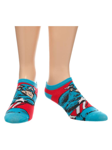 Marvel Blue Captain America Ankle Socks - Planet Superhero