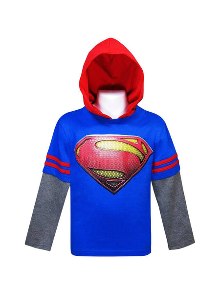 Superman Movie Symbol Hooded Kids Double-Sleeve T-Shirt