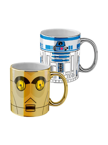 Star Wars - Set of 2 Metallic Coffee Mugs C3P0 & R2 D2 - Planet Superhero