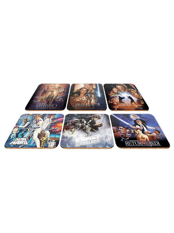 Disney Star Wars Character Set Of 6 Collector Cork Backed Coasters