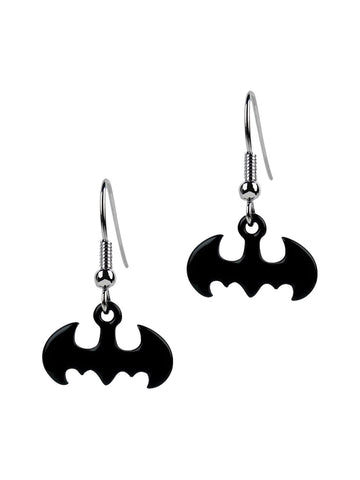 Batman Symbol Black Dangle Earrings - Planet Superhero