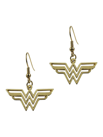 Wonder Woman Symbol Gold Dangle Earrings - Planet Superhero