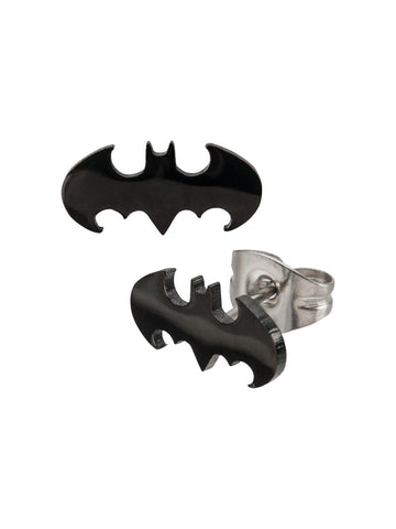 Batman Black Die-Cut 316L Surgical Steel Stud Earrings - Planet Superhero