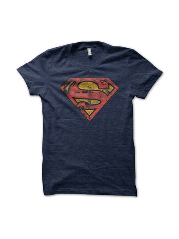 Superman Logo With Distressed Effect T-Shirt - Planet Superhero