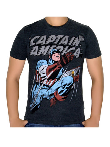 Captain America Classic Charcoal T-Shirt - Planet Superhero