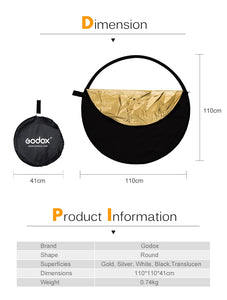 "Godox 43"" 5 in 1 collapsible light reflector"