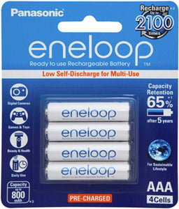 Panasonic Eneloop AAA 800mAh Rechargeable Batteries 4 Pack