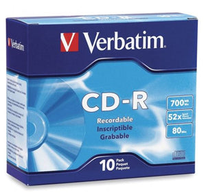 Verbatim CD-R 700MB 52x 10 Pack with Slim Cases