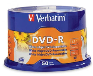 Verbatim DVD-R 4.7GB 16x White Printable 50 Pack on Spindle