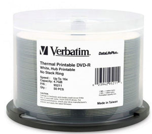 Verbatim DVD-R 4.7GB 16x Wht Wide Thermal Printable 50 Pack on Spindle