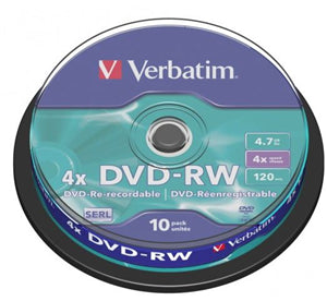 Verbatim DVD-RW 4.7GB 4x 10 Pack on Spindle