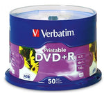Verbatim DVD+R 4.7GB 16x White Printable 50 Pack on Spindle