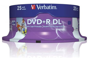 Verbatim DVD+R DL 8.5GB 8x White Wide Printable 25 Pack on Spindle