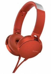 Sony MDRXB550APR Extra Bass Headphones -  Overhead Style Red