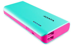 ADATA PT100 10,000mAh Powerbank with Flashlight - Aqua/Pink