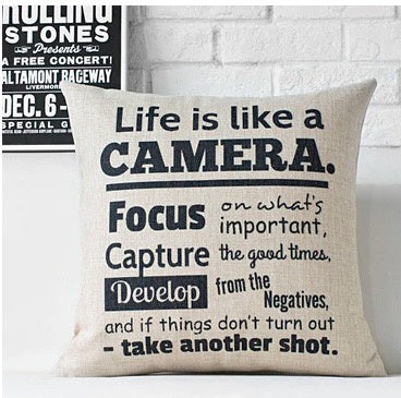 Vintage 'Life is like a Camera' Cushion