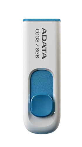 ADATA C008 Retractable USB 2.0 8GB White/Blue Flash Drive