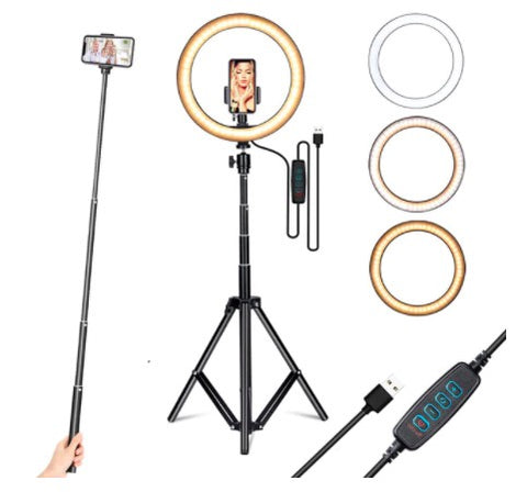 Selfie Ring light with stand and phone holder 10inch x 160cm (H)