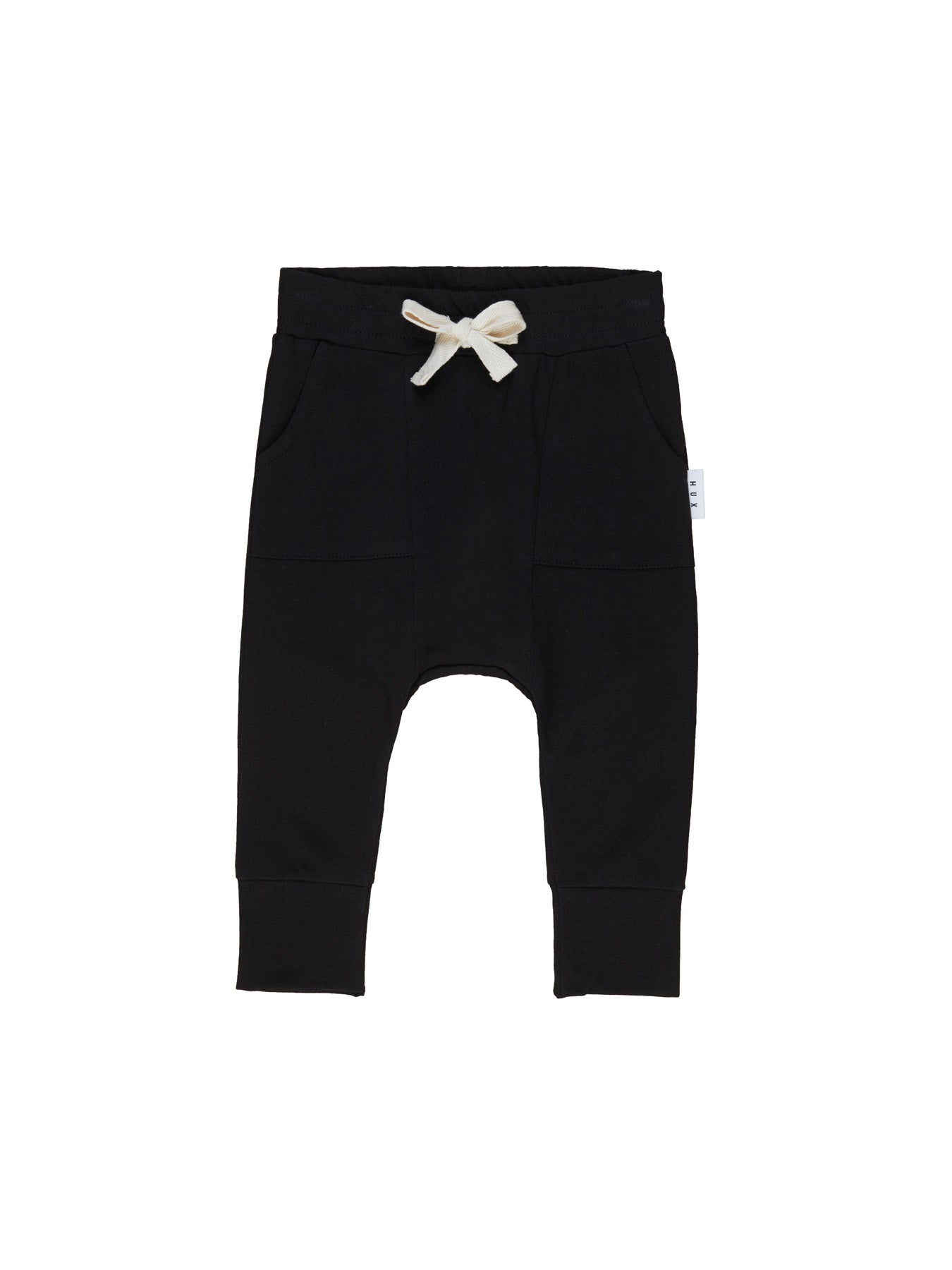 Black Pocket Drop Crotch Pant | Black