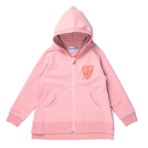 Hearts On Hearts Furry Zip Up | Muted Pink