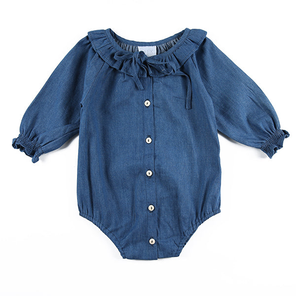 Peta Playsuit in Blue Chambray