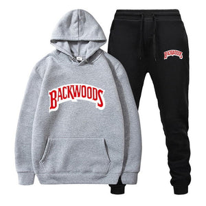 fashion brand Backwoods Men's Set Fleece Hoodie Pant Thick Warm Tracksuit Sportswear Hooded Track Suits Male Sweatsuit Tracksuit