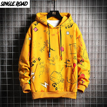 Load image into Gallery viewer, SingleRoad Men's Hoodies Men 2020 Winter Fleece Anime Sweatshirt Male Hip Hop Harajuku Japanese Streetwear Yellow Hoodie Men