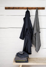Load image into Gallery viewer, LAPUAN - TERVA WAFFLE BATHROBE. BLACK+GRAPHITE