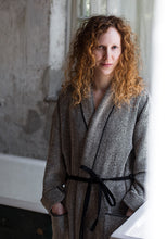 Load image into Gallery viewer, LAPUAN - KIVI TERRY BOUCLE BATHROBE. BLACK+NATURAL